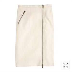 JCrew pencil zipper skirt ivory